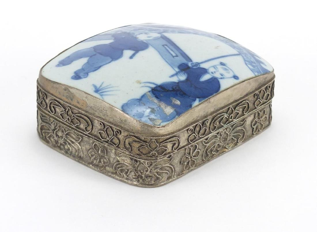 Chinese silver coloured metal box with inset porcelain panel painted with children, 4.5cm H x 8.