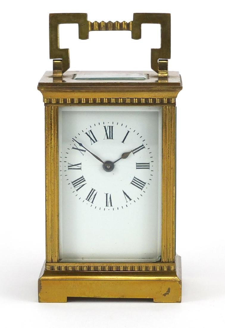 Brass cased carriage clock with bevelled glass, enamelled dial and Roman numerals, 11.5cm high - 2