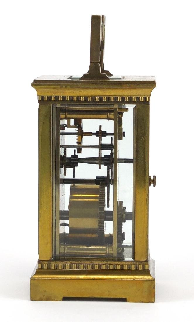 Brass cased carriage clock with bevelled glass, enamelled dial and Roman numerals, 11.5cm high - 3