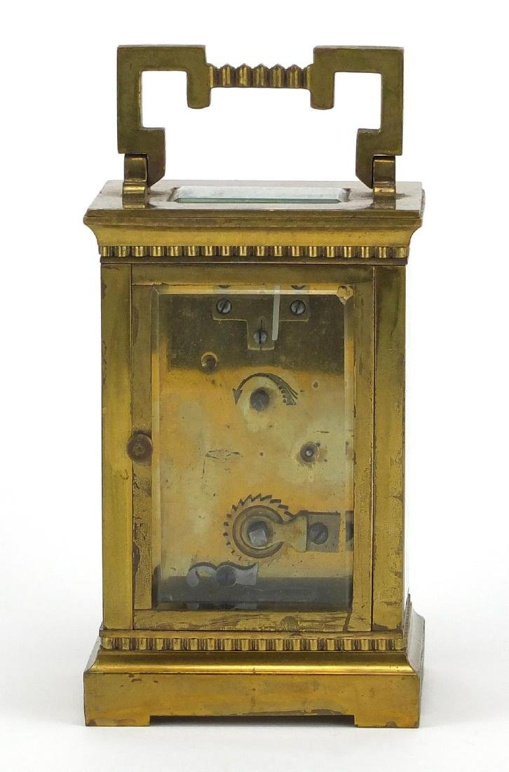 Brass cased carriage clock with bevelled glass, enamelled dial and Roman numerals, 11.5cm high - 4
