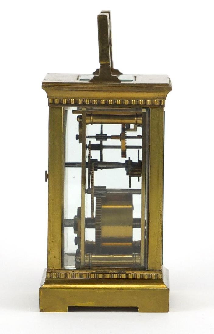 Brass cased carriage clock with bevelled glass, enamelled dial and Roman numerals, 11.5cm high - 5