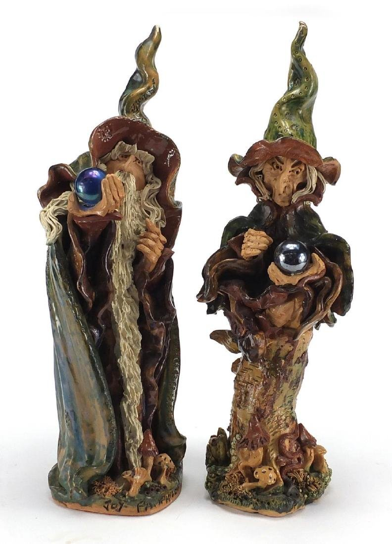 Pair of Studio pottery wizards by Joy Pamphilon, the largest 46cm high