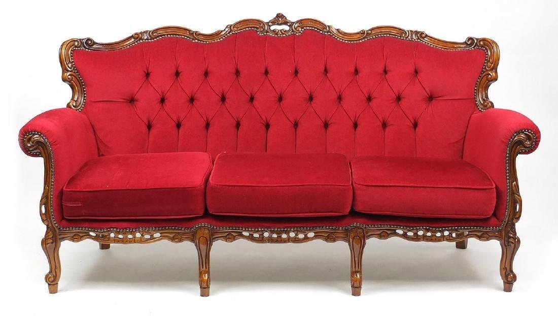 Decorative ornate carved walnut three seater settee, 98cm H x 190cm W x 66cm D