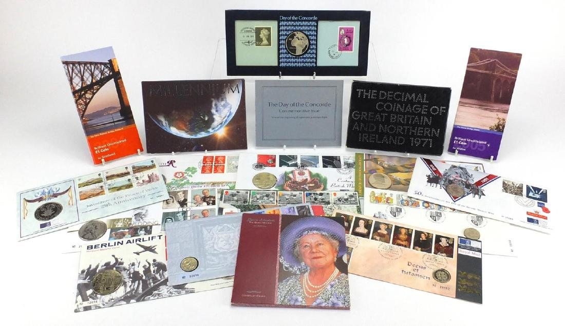 Mostly proof and uncirculated British coinage, some covers including five pound, two pound and one