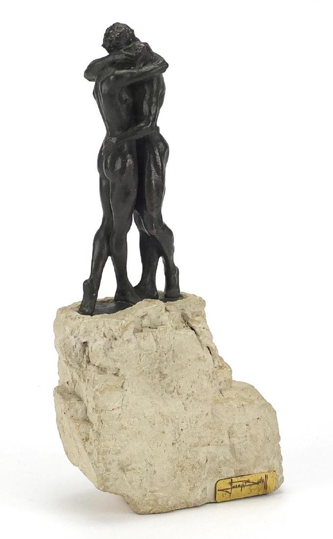 Josef Bofill bronzed study of two nude lovers on rock base, limited edition 201, overall 32cm high :