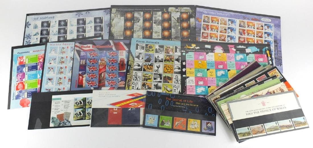 British mint unused stamps including sheets of first class and presentation packs