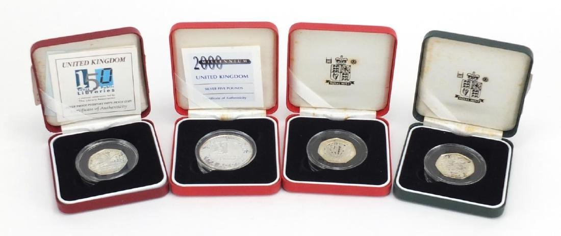 Three silver proof fifty pence pieces and five pound coin, 1998 25th Anniversary EEC, 150 years of