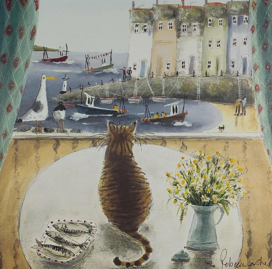 Rebecca Lardner - When the boat comes in, signed coloured print canvas board, limited edition 174/