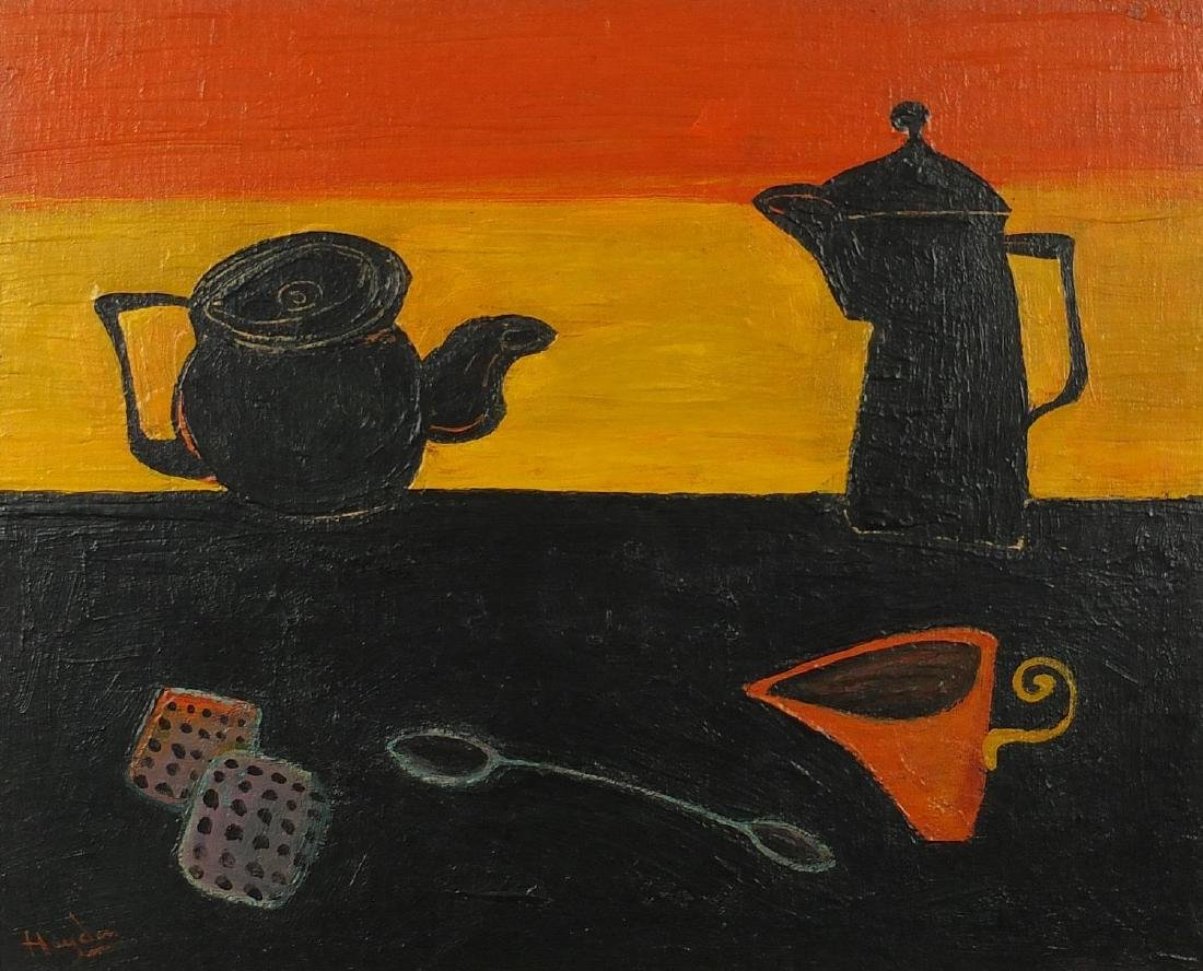 Abstract composition, still life, oil on board, bearing a signature Hayden and label verso,