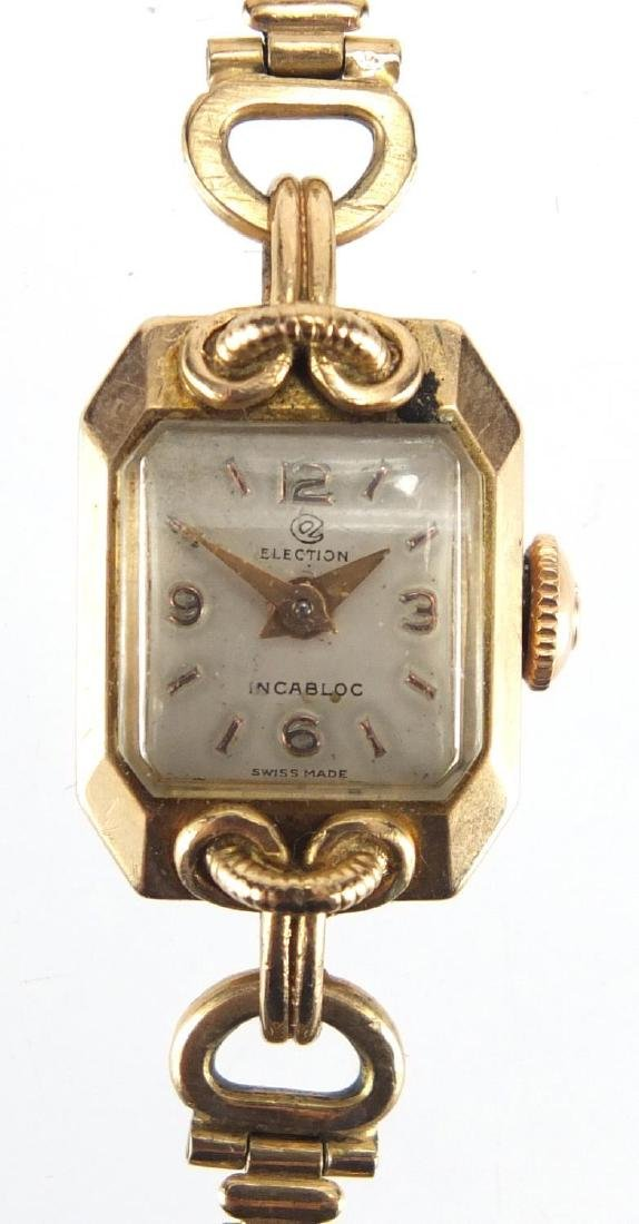 Ladies 9ct gold Election Incabloc wristwatch with 9ct gold strap, approximate weight 13.0g
