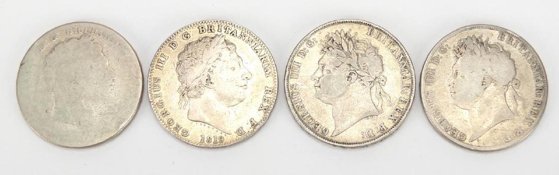 Four George III and later silver crowns including 1819 and two 1821, approximate weight 109.0g
