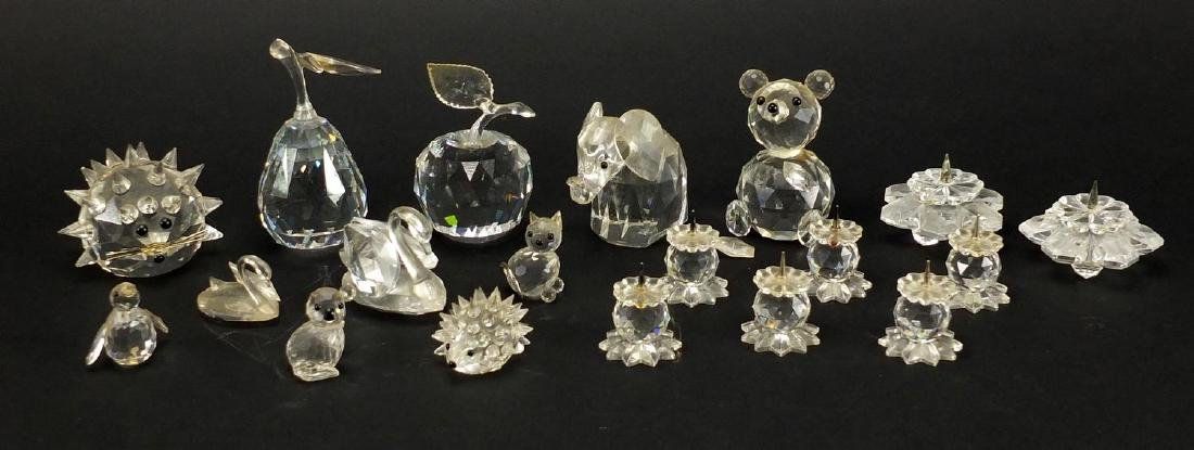 Group of mostly Swarovski crystal animals, bears and fruit