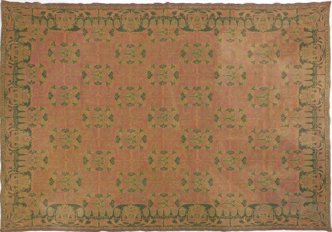 Rectangular Art Nouveau design rug having an all over stylised floral design, 123cm x 154cm
