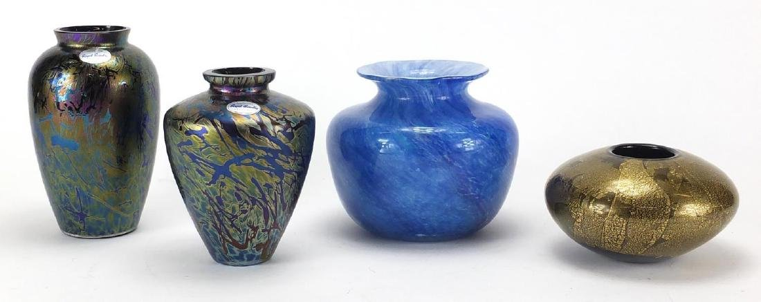 Four art glass vases including two Royal Brierley iridescent examples, the largest 15.5cm high