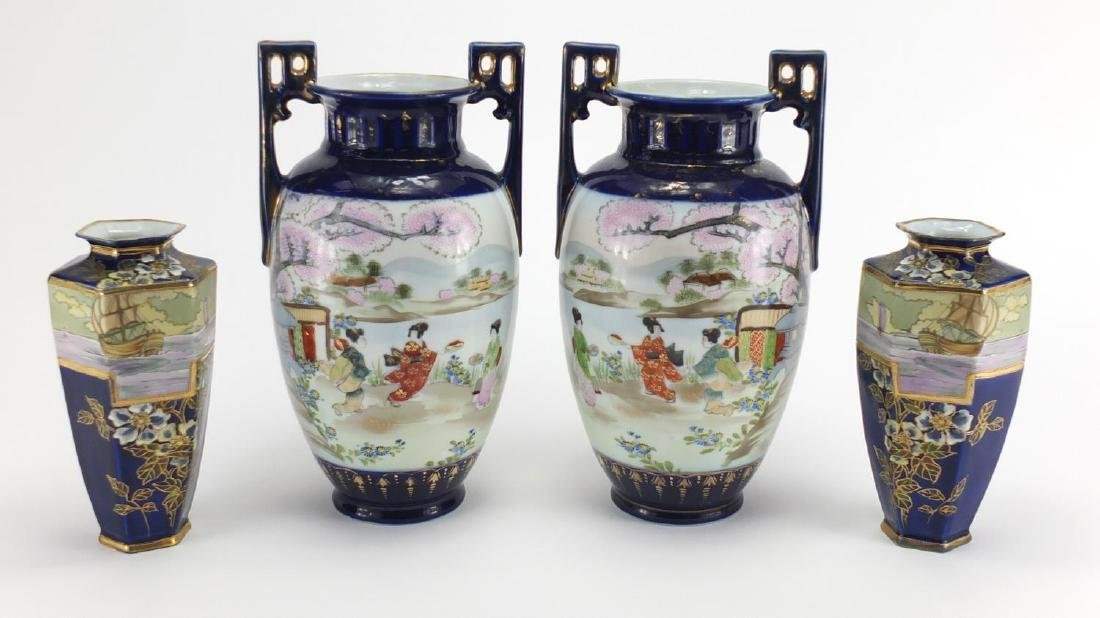 Two pairs of Noritake vases one pair with twin handles, both hand painted on with rigged sailing