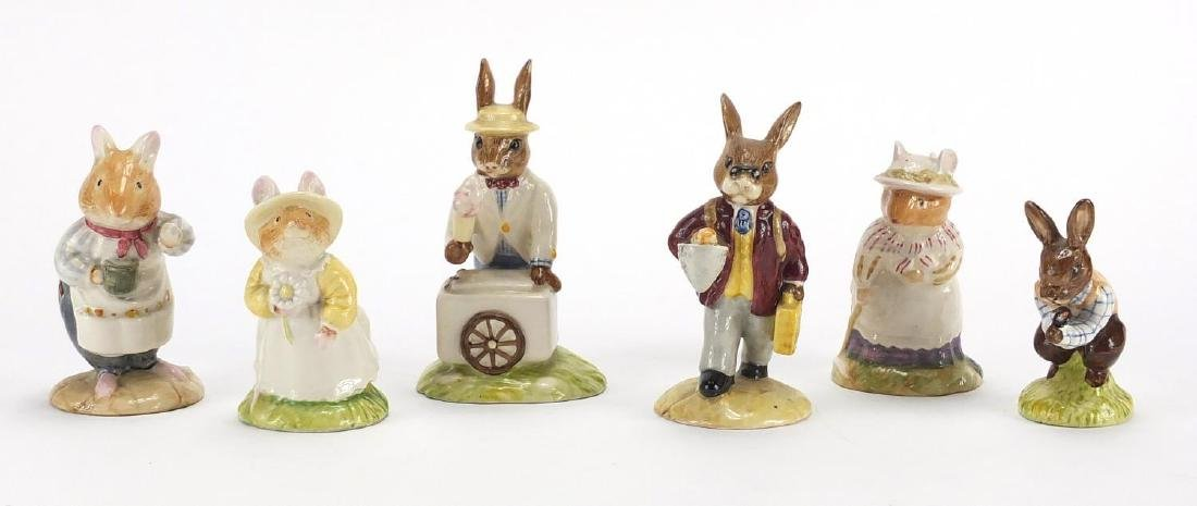 Six Royal Doulton Brambly Hedge figures including Mr Apple and Ice Cream Bunnykins, the largest 11.