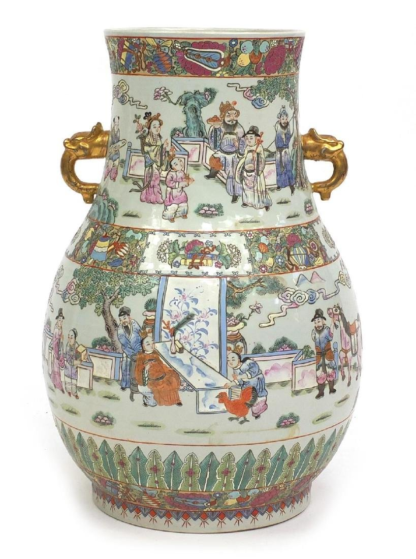 Large Chinese porcelain vase with elephant head handles, hand painted in the famille rose palette
