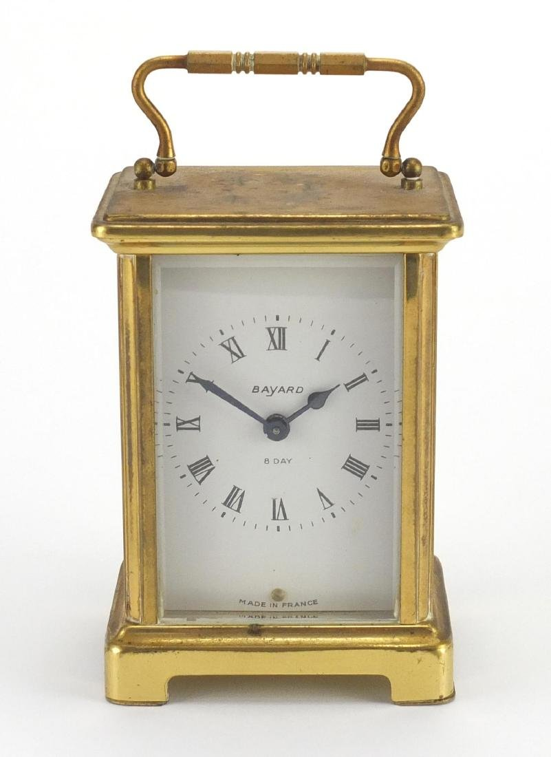 French Bayard eight day brass carriage clock, 11.5cm high