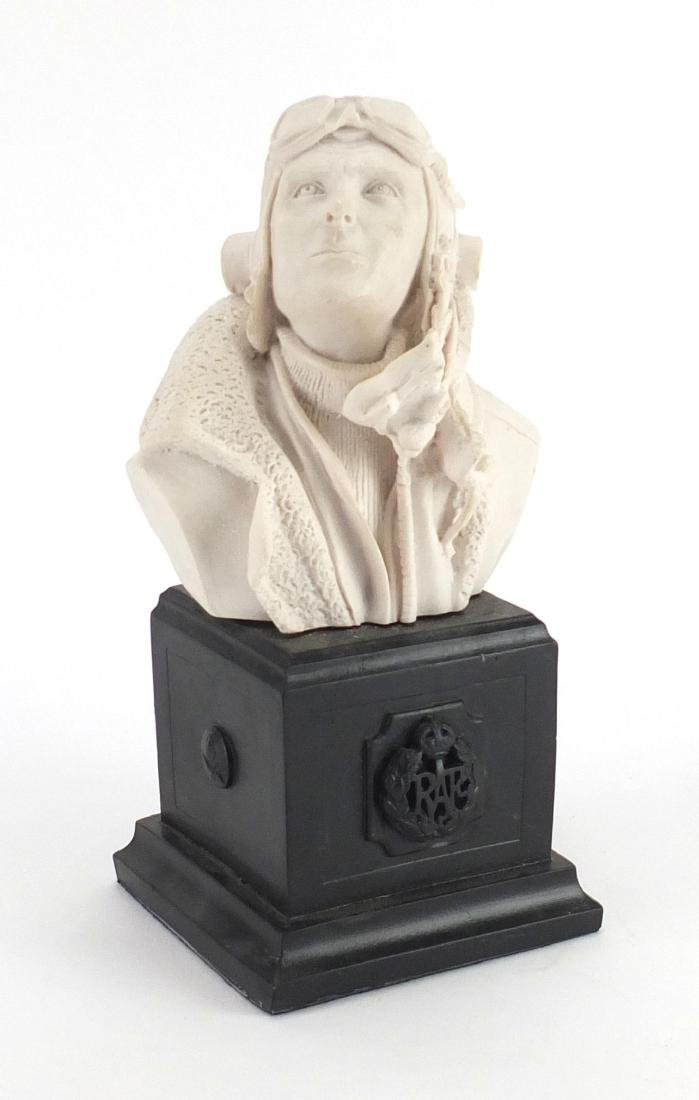 White marble style bust of a RAF pilot, 28cm high