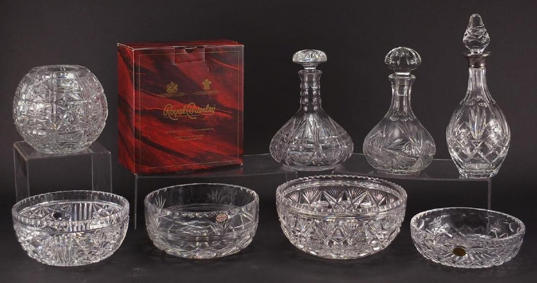 Cut glassware including three decanters, one with silver collar, four bowls, one Stuart and two
