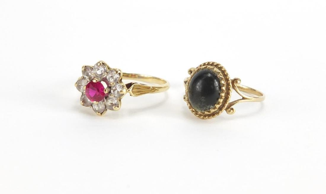 Two 9ct gold rings, set with assorted stones, sizes P and Q, approximate weight 4.3g