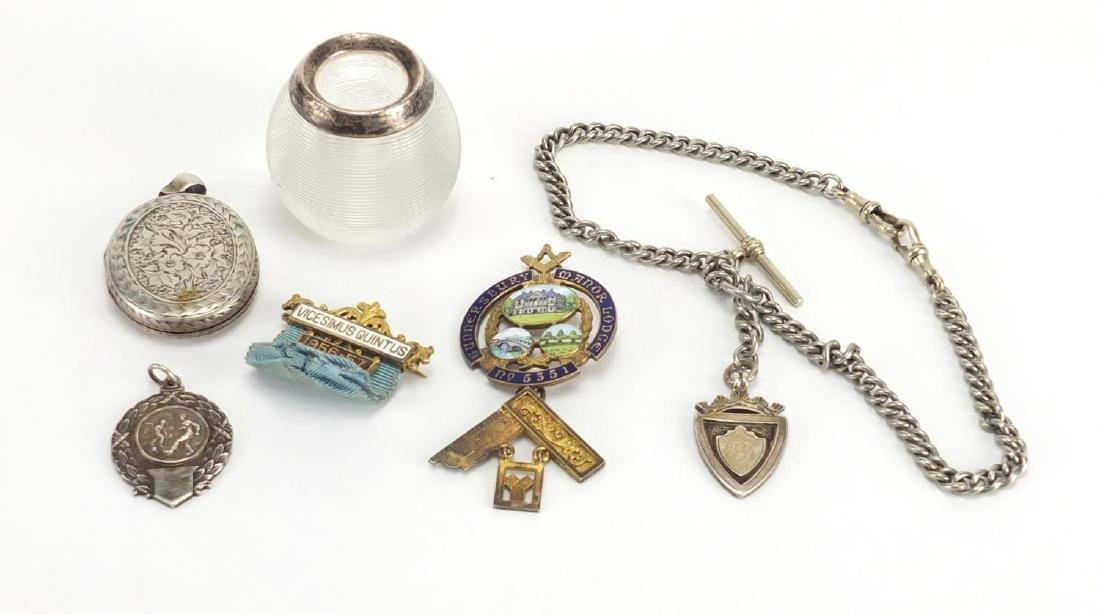 Miscellaneous objects some silver including watch chain, silver gilt and enamel Masonic jewel,