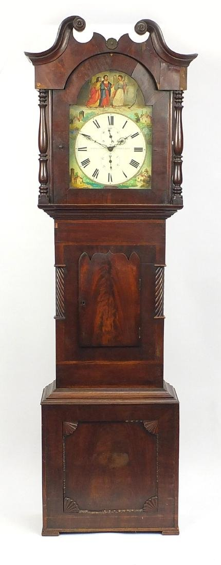 Victorian mahogany longcase clock, the dial hand painted with figures and inscribed Barraclough