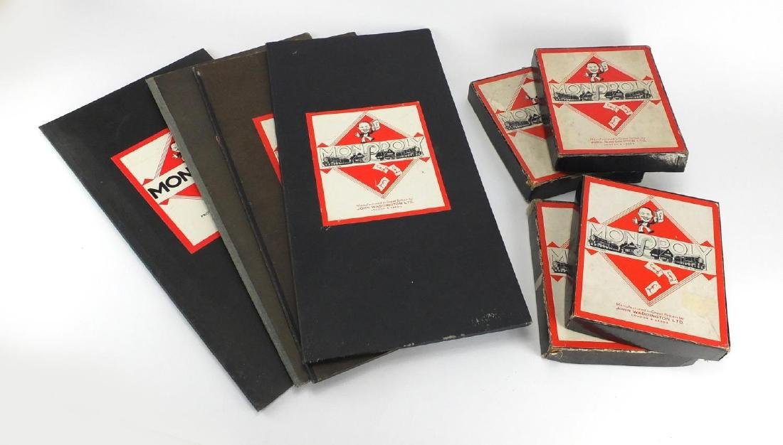 Four war time sets of Monopoly, three with patent numbers