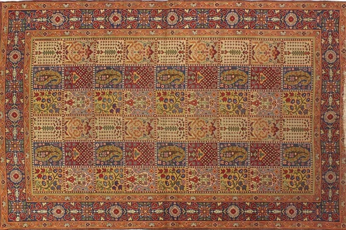 Rectangular Indian Garden design rug with corresponding boarders, 240cm x 170cm