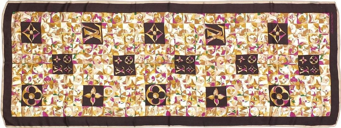 Louis Vuitton monogram silk scarf with a floral design and box