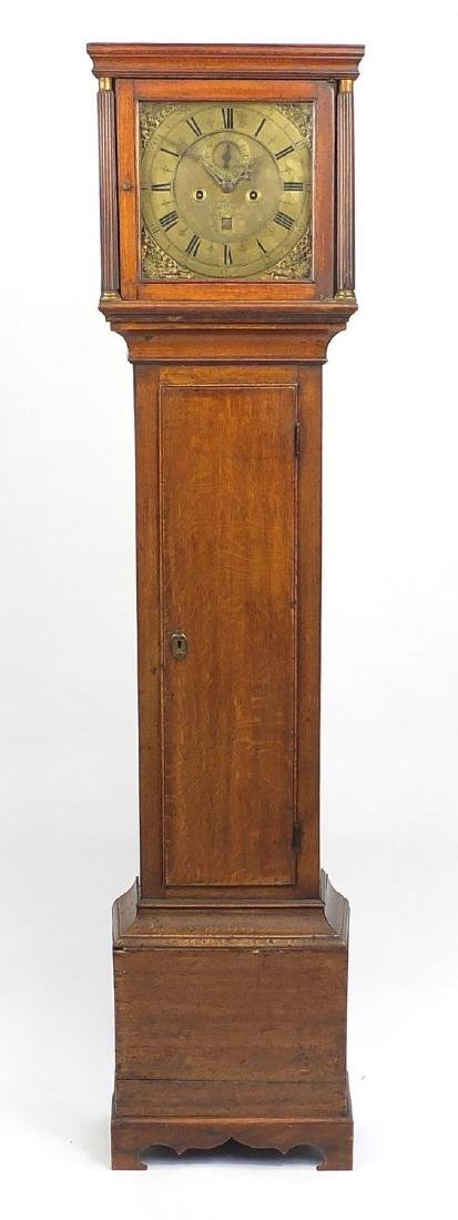 19th century oak cased Grandfather clock, the brass dial engraved John Hocker of Reading, with Roman