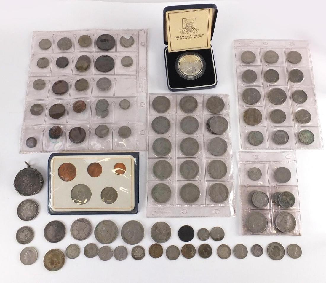 Antique and later British and World coinage, some silver including a 1928 45 Piastres