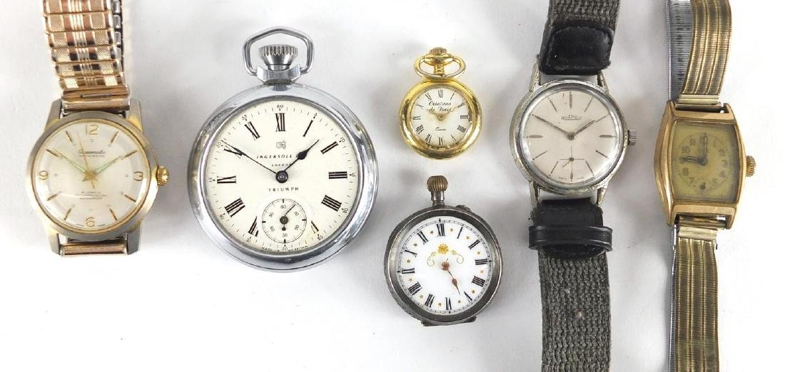 Vintage and later wristwatches and pocket watches including Roma, Ingersoll and Basamatic