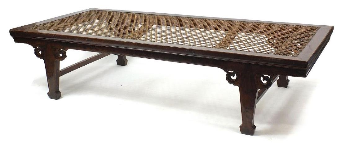 Chinese hardwood day bed with lattice top, 50cm H x 219cm W x 103cm D