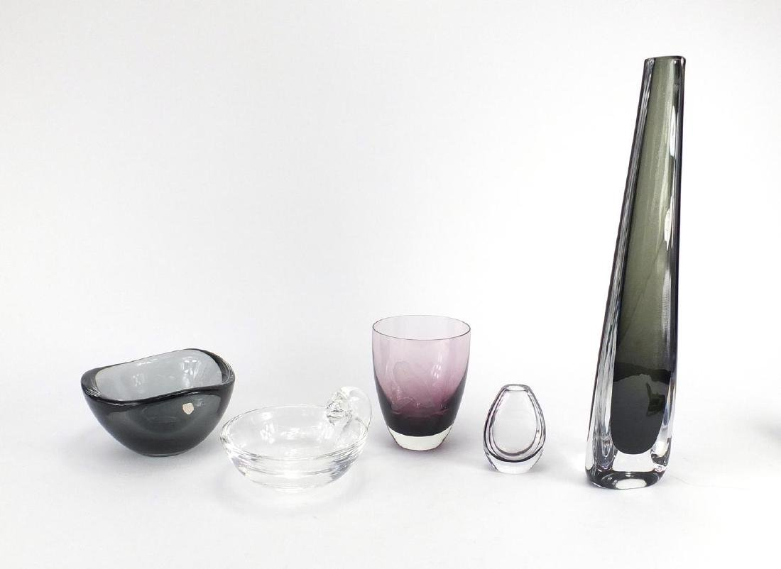 Art glassware including Orrefors vase and bowl, Kosta Boda vase and purple glass vase etched with an
