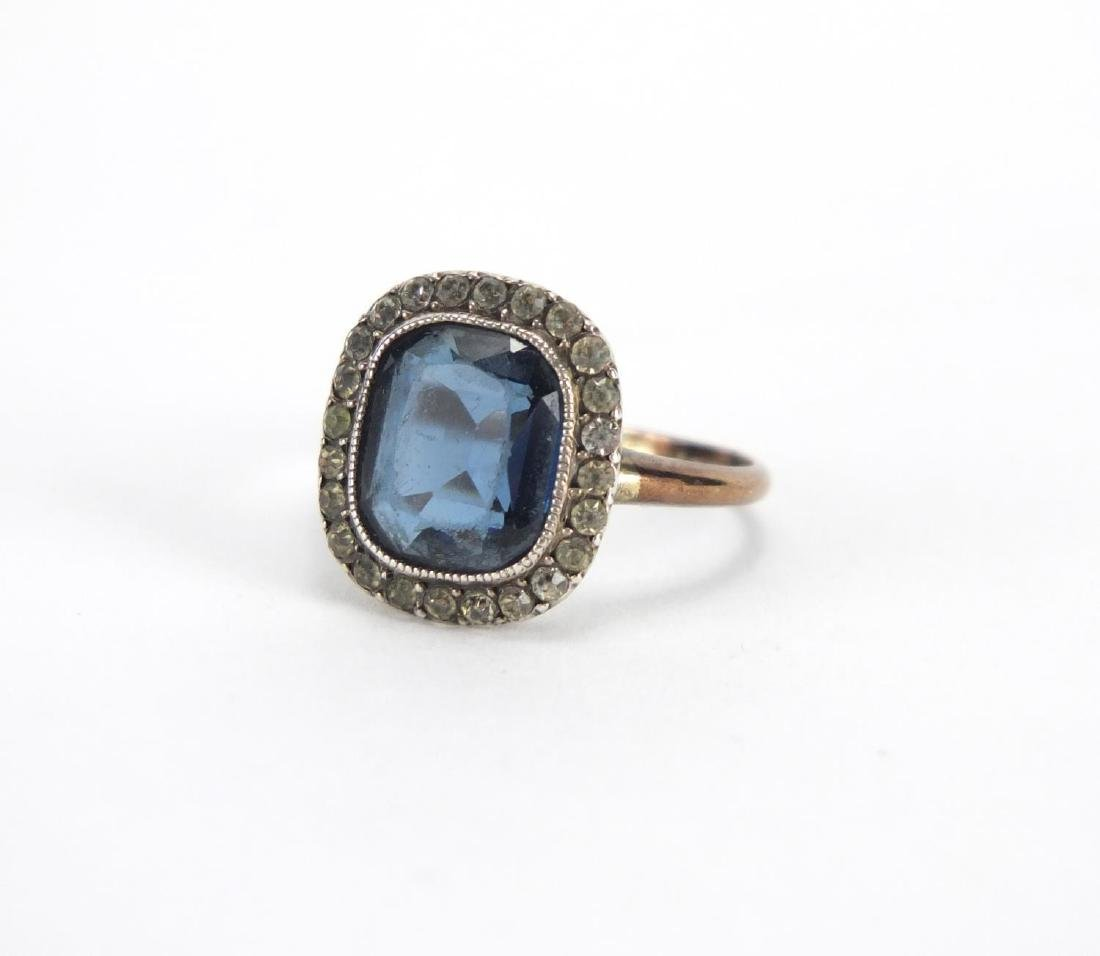 9ct gold blue and clear stone dress ring, size K, approximate weight 2.8g