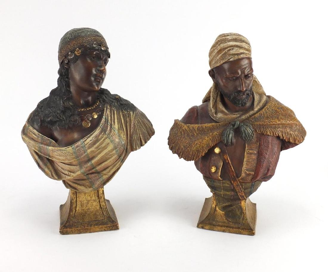 Pair of reproduction Goldscheider terracotta busts, impressed marks to the reverse of each, each