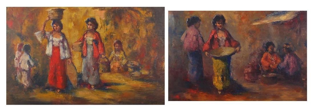 Street traders, two continental school impressionist oil on canvases, both bearing a signature