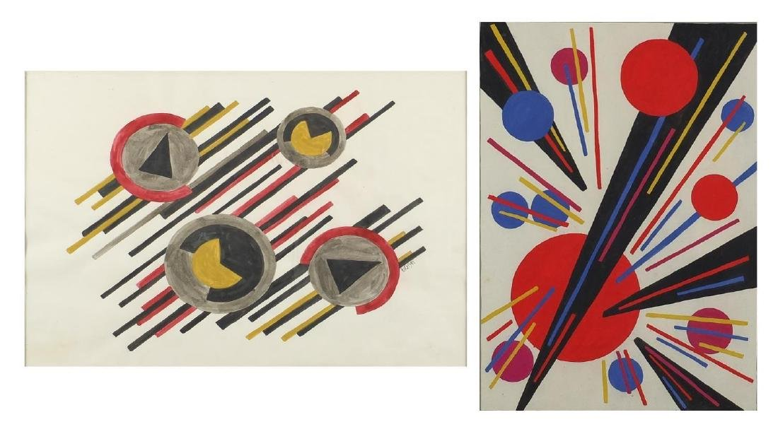 Abstract composition, geometric shapes, two Russian school watercolours, both bearing signatures,