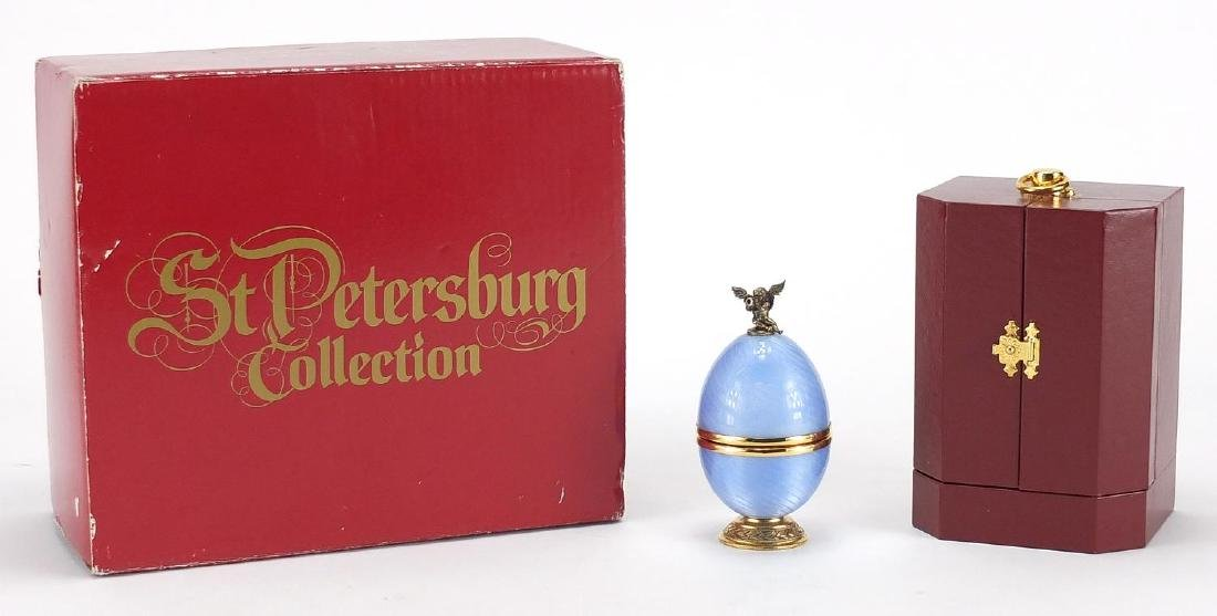 Silver gilt and blue guilloche enamel Faberge egg from the St Petersburg collection, designed by