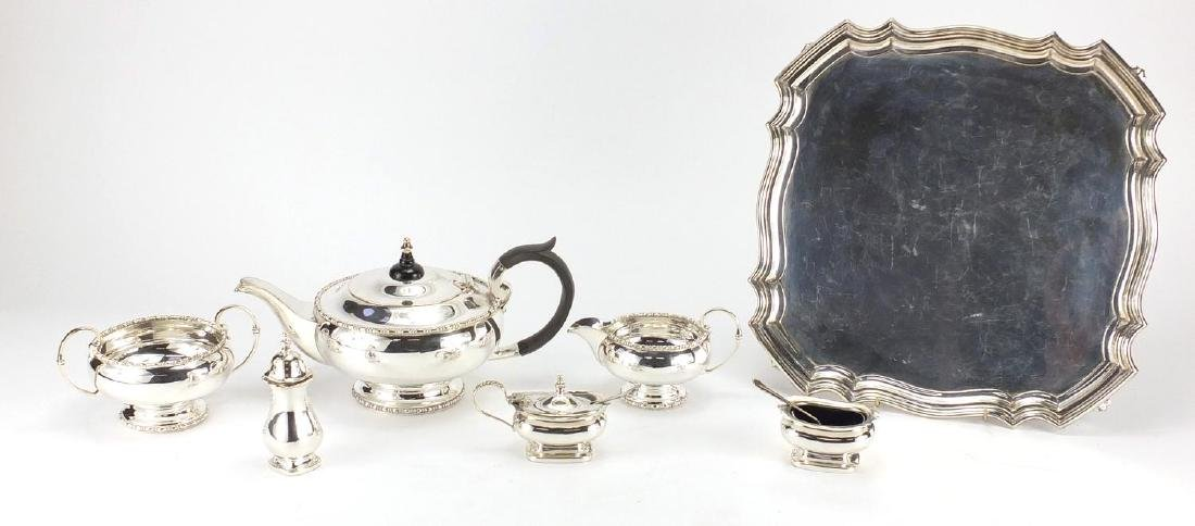 Walker & Hall Sheffield silver plated three place tea service on tray and three piece cruet set with