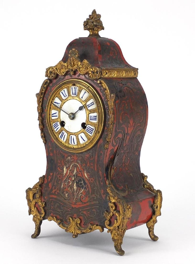 19th Century French boulle brass and red tortoiseshell mantel clock with ormolu mounts, the