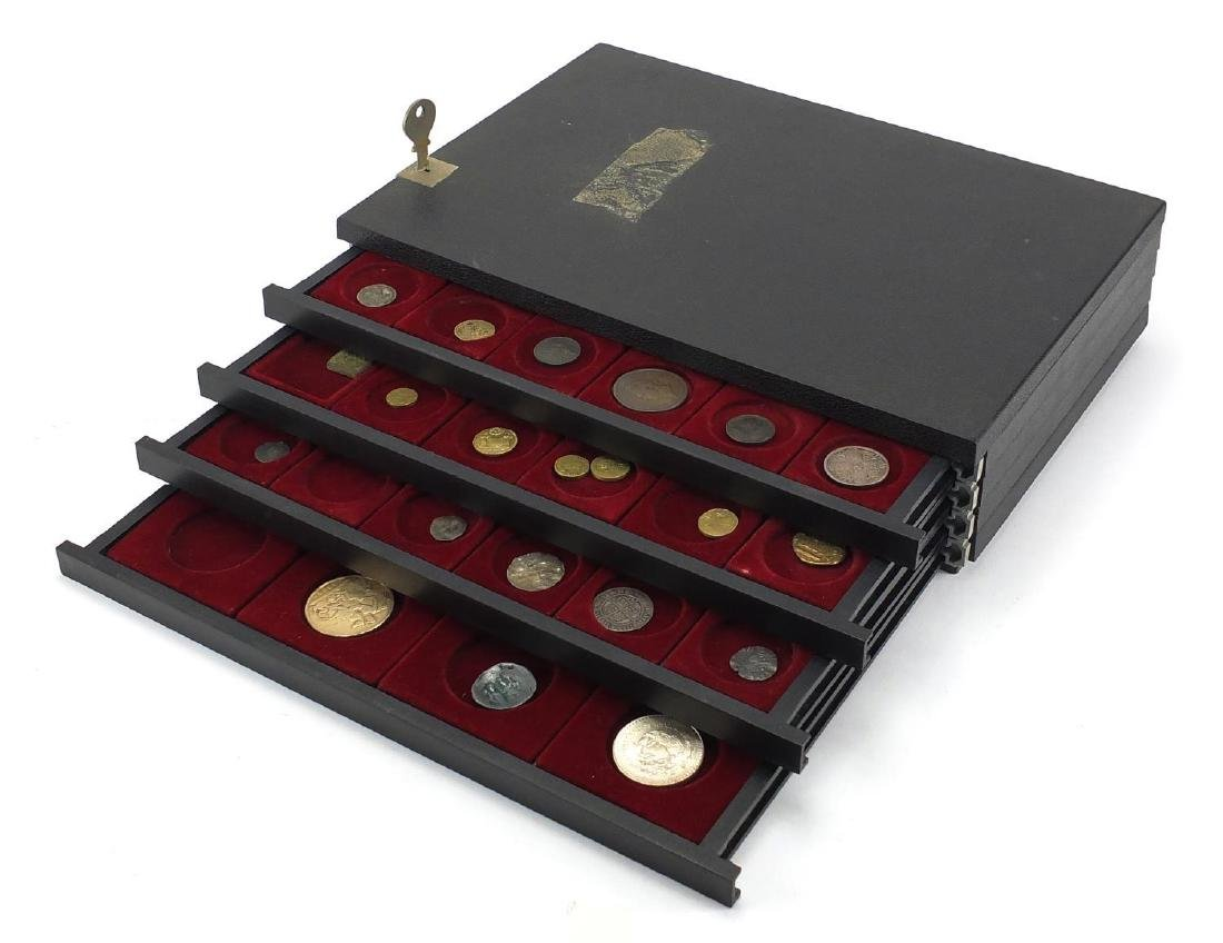 Antique and later British and World coinage arranged in collectors drawers, including hammered
