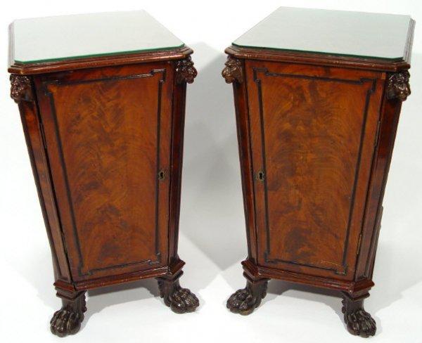 1: Pair of Regency mahogany pedestal wine coolers, the