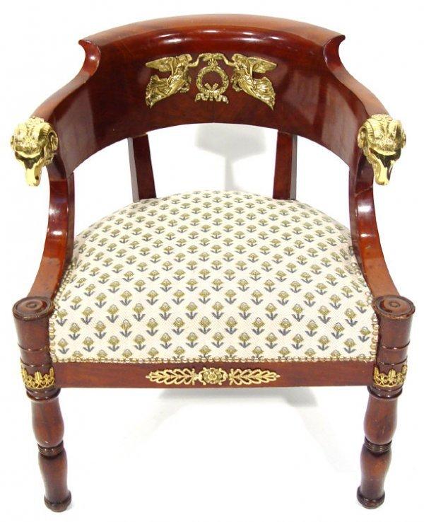 4: Charles V mahogany fauteuil de bureau with ormolu an