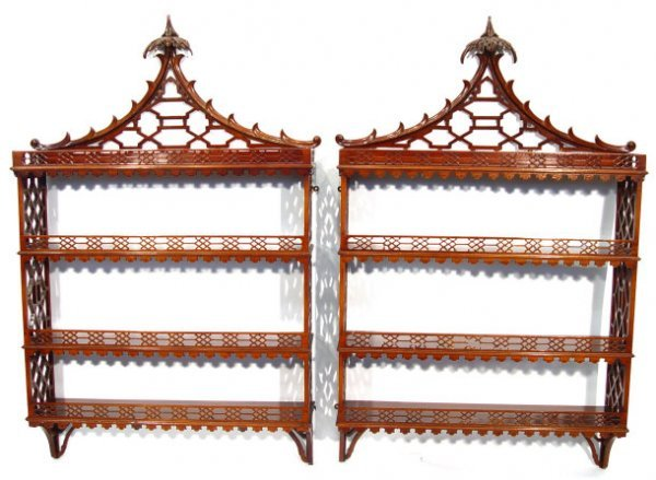 5: Pair of Chippendale design mahogany hanging bookcase