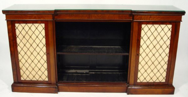17: 19th Century rosewood inverted breakfront bookcase,