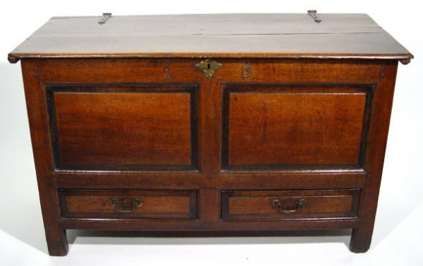 18: 19th Century oak coffer with panelled front and two