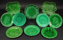 538 Ten Victorian Majolica green leaf plates including