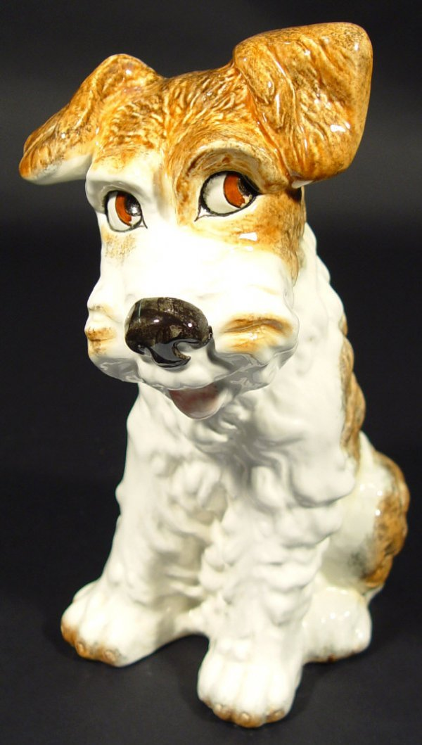 1203: Sylvac seated terrier dog with hand painted decor